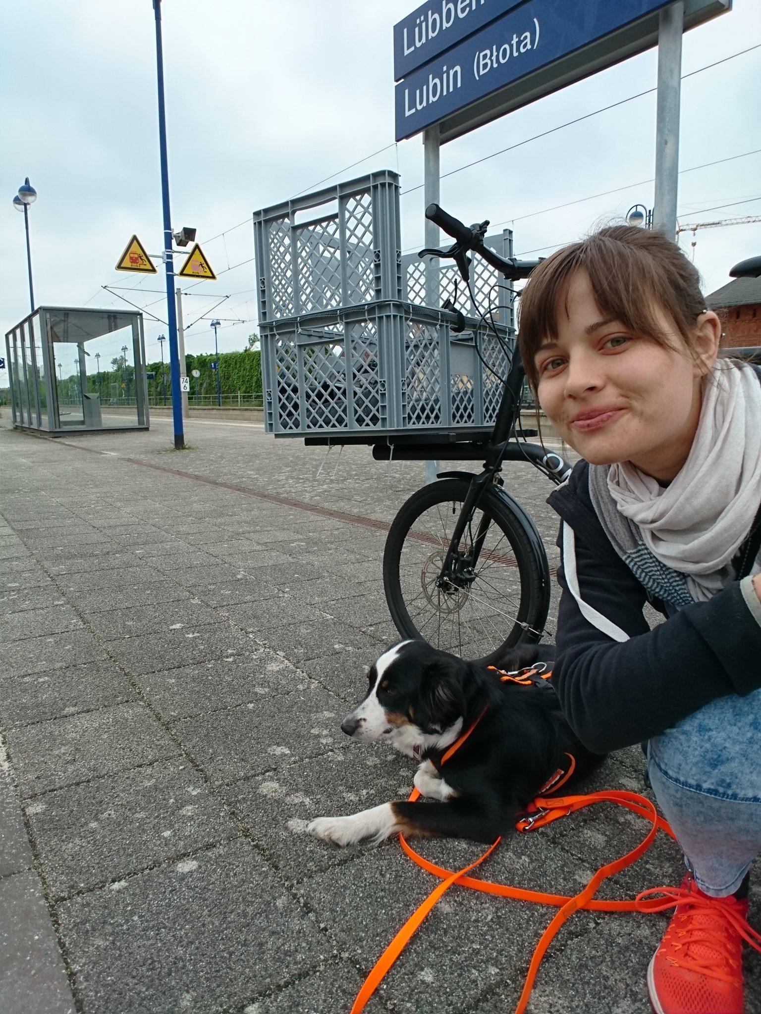 Fahrrad und Hund auf dem Bahnhof in Lübben Spreewald