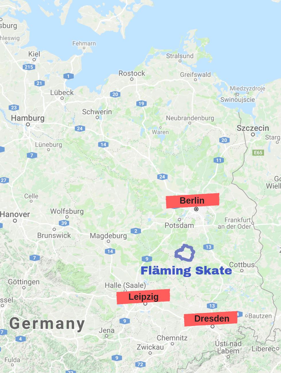 Uebersicht Karte Fläming Skate Berlin Brandenburg