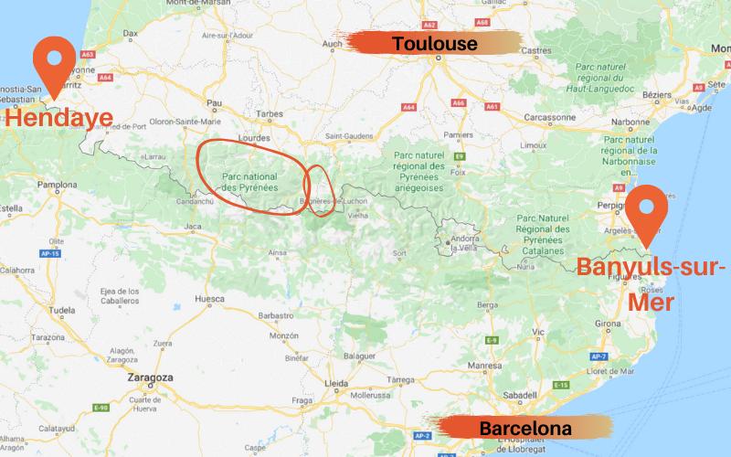 Wandern-auf-demGR10-Karte-der-Pyrenäen-Hendaye-nach-Banyuls-Sur-Mer